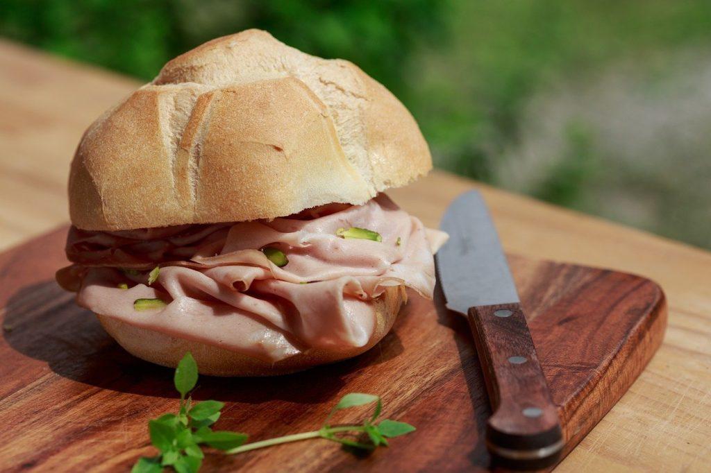 mortadella, sandwich, bread